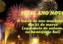 Feliz ano Novo – O início do ano maçônico é dia 21 de março (equinócio de outono, no hemisfério Sul).