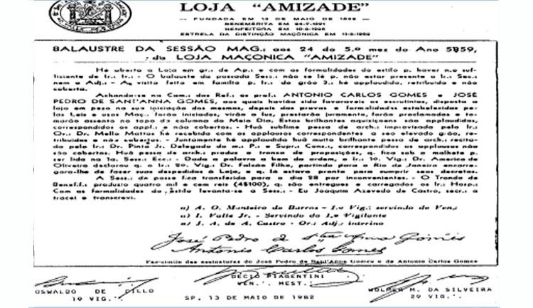 Dia 02 de Maio de 1861 – Estreia da Peça O Guarani – A primeira ópera do Ir∴ Carlos Gomes